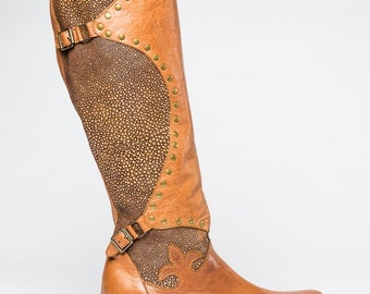 Sting -Tan Leather Stingray Boot with Antique Brass Studs