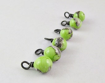 Yellow Green and Silvered Ivory Lampwork Drops Hand Forged Black Iron SRA