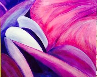 Original Artwork - acrylic painting- pink painting-hydrangea- Grandmas Garden