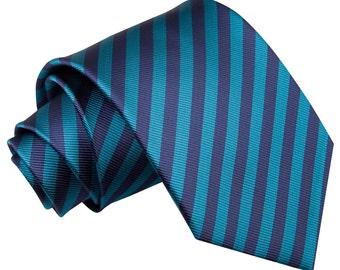 Thin Stripe Navy Blue & Teal Tie