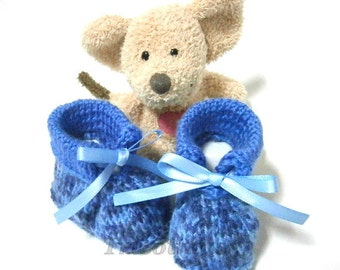 Blue handmade baby booties 0/3 months Tricotmuse