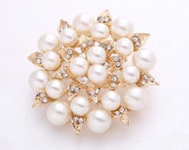 Rhinestone Pearl Brooch Gold Embellishment Bridal Cake Broach Decorations Hair Comb DIY Crafts Rhinestone Gold Pearl Broaches