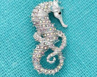 Seahorse Brooch, Aurora Borealis Rhinestone Sea Horse Brooch, Bridal Bouquet Brooches, Cake Brooch, Iridescent Brooch, Gift for Bride