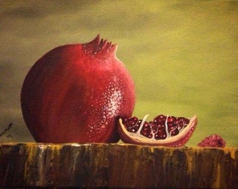 Still Life , Realistic Painting of Pomegranate