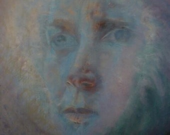 original oil painting 'blue' oil on board 20 x 24 inch