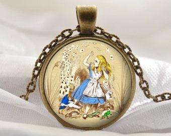 Alice Jewelry - Alice in Wonderland Necklace - Alice with Cards Pendant - Vintage Fairytale Gift Ideas for Her