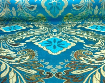 Turquoise / Gold Metallic Floral Brocade Fabric