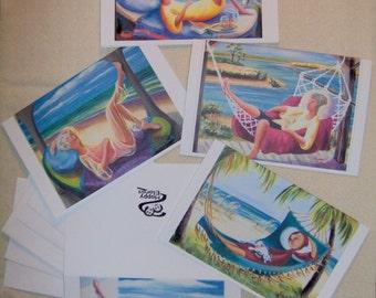 Specialty Cards/ Designer Artist Cards/ Girl's Relaxing/ Can Frame as Art/ Home Decor/ Girl's Gift Set/ Women's Gift Set/ by Scarlet Elora