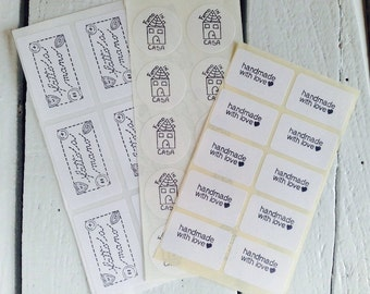 20 hand-stamped adhesive labels