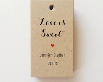 Custom Favor Tags Love is Sweet Tags Personalized Wedding Tags Bridal Love is Sweet Shower Tags (25) CHECK SIZE