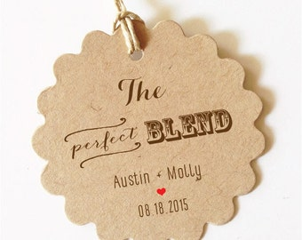 The perfect blend wedding favor tags Wedding Coffee Favors (Brown or Black Text)