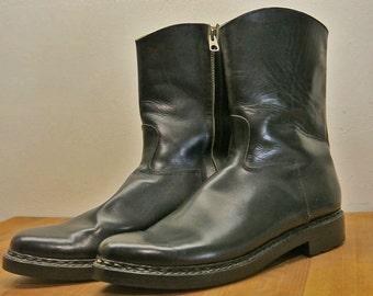 Probst's custom black side zip boots NICE sz 44 US 10