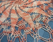 Vintage crocheted coral ombre table center doily - hand made pinwheel design - 18 inches - HS-LI-007