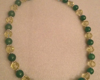 Green Agate and Crystal Necklace
