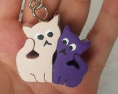 Cat Key Chain, Key Ring, Bag Charm, Key Fob, Key Chain, Keychain, Key Holder, Wooden Key Chain, Key Ring, Rustic Wooden Keychain