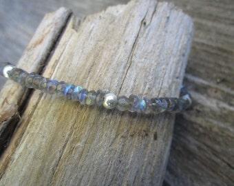 Labradorite Rondelle and Sterling Silver Bracelet