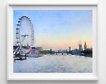 London print, London art, Watercolor, Art print, Illustration, Wall art,Pic no 47