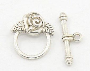 Antique Silver Finish Tibetan Style Rose Toggle Clasp (CLP-T-AS-3), 5 sets