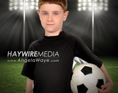 Soccer Digital Backdrop with Stadium Lights for a Sport Photography Portrait