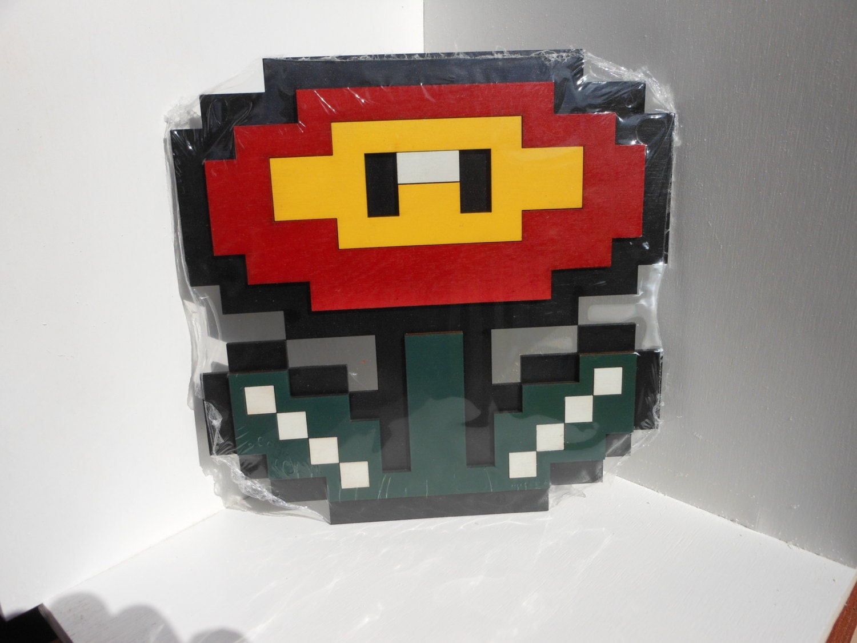8 bit super mario fire flower wall art video game decor for 8 bit decoration
