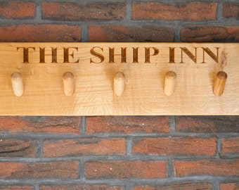 Personalised Wooden 5 Peg Coat Rack Rail Hook by The Fine Wooden Article Company