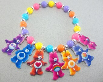 Care Bears Charm Bracelet, Care Bears Jewelry, Care Bears Party Favors, Care Bears Birthday, Care Bears Necklace