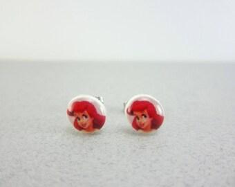 Ariel Earrings, Ariel Jewelry, Ariel Party, Ariel Birthday, Ariel Studs