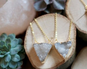 Gold plated white druzy necklace