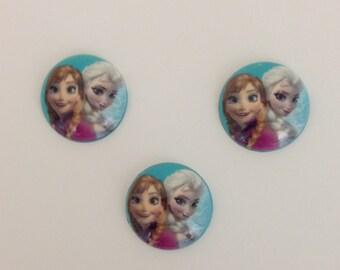 Frozen Elsa and Anna Inspired Round Dome - Set 3 Pieces - Frozen Resin Cabochon - Elsa and  Anna Cabochon -Bow Center-Elsa & Anna Round Dome