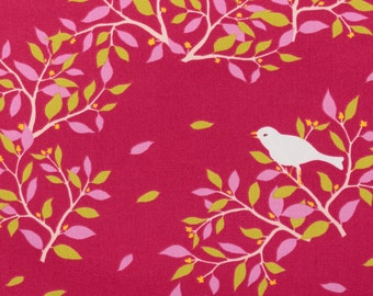 Cotorienne, white birds on tree, red - Fat Quarter