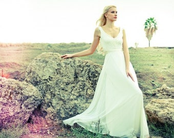 Kaylee - Romantic wedding dress with lace top and chiffon skirt, boho wedding dress, backless  wedding dress, beach wedding dress