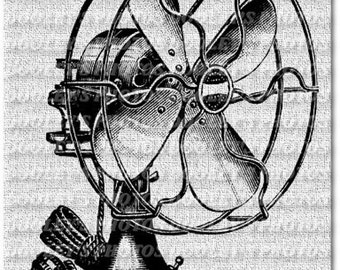 1930's Style Antique Electric Fan Digital Download Sheet - Instant Download for Iron On Transfer, Scrapbooking, Pillows, Etc.