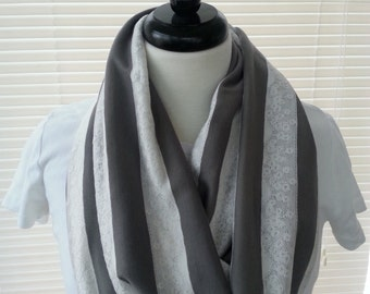 Infinity scarf, Gray with cream lace stripes.