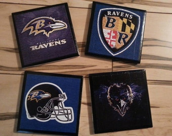 Baltimore Ravens ceramic coasters set of 4 different images nfl