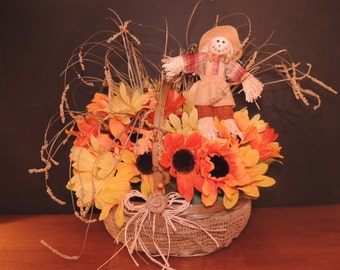 Flower Field Scarecrow Basket