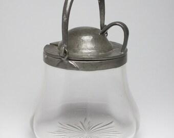 Liberty Archibald Knox English Pewter pewter & glass preserve pot Art Nouveau Arts and Crafts