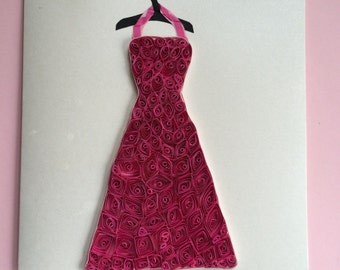 Card with quilled red party dress