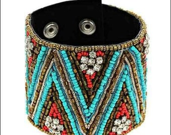 Fashion Seed Bead & Rhinestone Bracelet