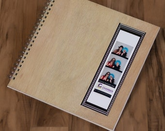 photo booth scrap book with natural wood cover 12x12