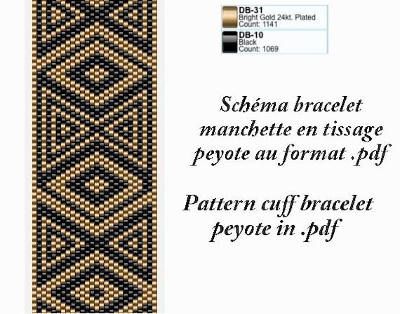 articles similaires sch ma pour bracelet manchette noir et dor en tissage peyote au format. Black Bedroom Furniture Sets. Home Design Ideas