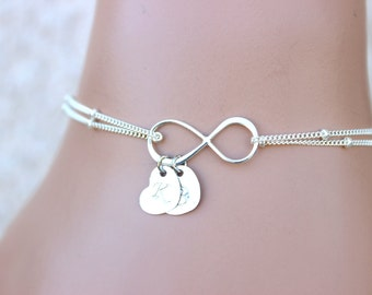 Personalized womens Bracelet, Infinity Bracelet , Initial Bracelet ,Bridesmaids, Monogram,Friendship, Heart initial bracelet, Love, Gifts