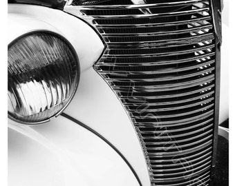 Printable Digital Classic Car Photography, Wall Art, Vintage Car Art, Black and White Classic Car Photo, Gift for Him, Man Cave