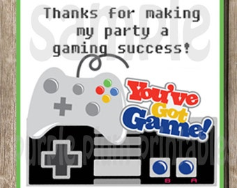 Instant Download - Video Game Party Favor Tag - Video Gamer Party - Print at Home