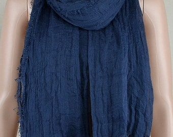 Blue leisure scarf cotton, natural drape tassel scarf, large size scarf, thin and soft