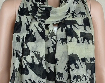Beige cotton leisure scarf, lucky elephant print scarves, shawls, collar
