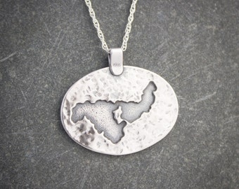 Crooked Lake, Michigan Pendant in Sterling Silver, Michigan Jewelry