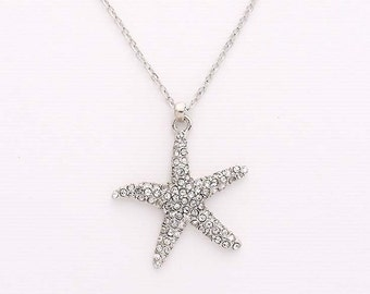Starfish Necklace, Starfish Charm Necklace, Beach Jewelry, Starfish Bridal Bridesmaid Pendant Necklace, Crystal Silver Beach Jewelry