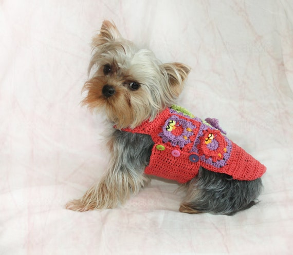 Crochet Dog Sweater, Crochet Pet Cotton Sweater with Owls, Cherry Red ...