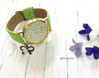 "Retro Leather Watch, Dot Pattern Watch, Leather Bracelet Watch, Wrist Watch, Leather Watch, Vintage Style Watch ""bowknot"" charm"