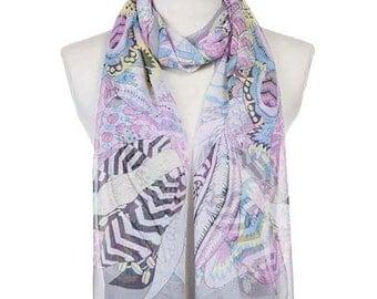 Womens Scarf, Floral Print Scarf, Gray Scarf,  Fashion Scarf, Chiffon Scarf, Voile Scarf, Cotton Scarf